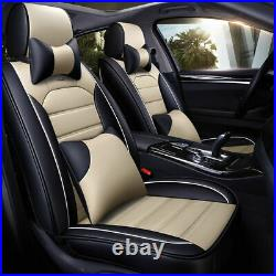 3D PU Leather Car Seat Cover Auto Protector Cushion Decor 5-Seats Front Rear Set