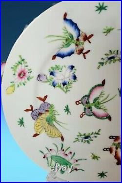 4 Vintage Saks Fifth Avenue Butterfly Porcelain Plates Hand Decorated Hong Kong