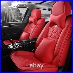5D Luxury Car Seat Cover Auto Decor Front Rear Red Leather Full Wrap Cushion Set