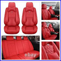 6D Red Leather Car Seat Covers Thicken Version 5-Seats Protector Cushions Decor