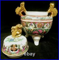 ACF Incense Burner / Potpourrie Famille Rose Decorated in Hong Kong Home Gift