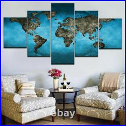 Abstract Blue World Map Canvas Prints Painting Wall Art Home Decor Poster 5PCS