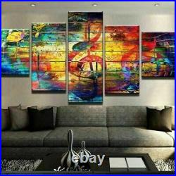 Abstract Color Music Notes Sole Art Canvas Print Painting Wall Art Home Decor 5P