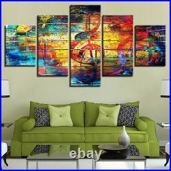 Abstract Colorful Musical Notes Music Canvas Prints Painting Wall Art Decor 5PCS