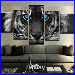 Animals Blue Eyes Tiger Canvas Prints Painting Wall Art Home Decor Picture 5PCS