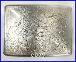 Antique Chinese Export Hong Kong Silver Cigarette Case Dragon Decoration