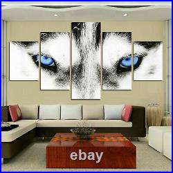 Blue Eyes Wolf Animals Canvas Prints Painting Wall Art Home Decor Picture 5PCS