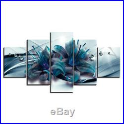 Blue Lily Flowers Abstract Canvas Print Painting Wall Art Home Decor Poster 5PCS