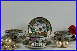 Cup and Saucer Set Rooster Motif Made in Japan, Decorated in Hong Kong
