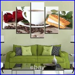 Cup of Coffee Beans Red Roses Flowers Bread Canvas Print Painting Wall Art Decor