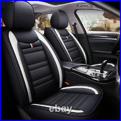 Deluxe PU Leather Cushion Car 5 Seats Cover Front Rear Automotive Interior Decor