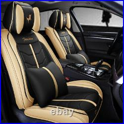 Deluxe Version Car Seat Cover 6D Leather Front+Rear Cushion Set Decor Universal