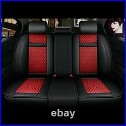 FLY5D Auto Interior Car Seat Cover PU Leather Decor 5-Sit Fully Surround Red Set