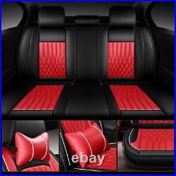 Fashion Red Auto Decor Luxury Car Seat Cover Fully Leather Pad Cushion Full Set