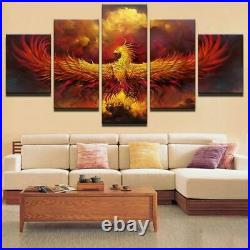 Fire Phoenix Bird Abstract Picture Canvas Prints Painting Wall Art Home Decor 5P