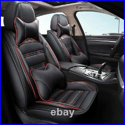Fly5D Red Car Seat Cover WithPillows Luxury PU Leather Auto Decor SUV Protector US