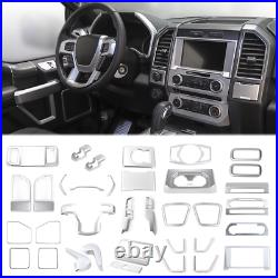 Full Set Car Interior Decoration Cover Trim Bezels For Ford F150 2015-19 Silver