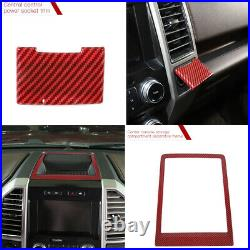 Full Set Interior Decoration Trim Fit Ford F150 F250 15+ Accessories Red Carbon