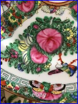 Group of 12 Vintage Rose Medallion Dinner Plates Decorated in Hong Kong