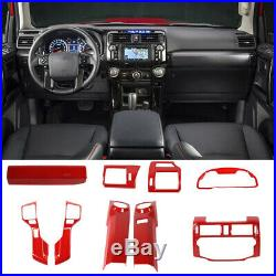 Interior Dashboard Decoration Trim Kit Cover For Toyota 4-Runner 2010+ Red 9pcs
