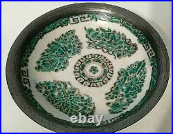 Japanese ISCO Porcelain Ware Pewter Encased 6 Bowl Decorated in Hong Kong