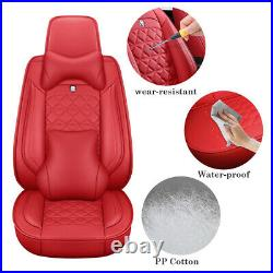 Luxury Car Seat Cover Bright Red Leather Front+Rear Comfort Cushion 5-Sits Decor