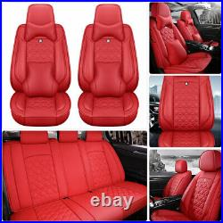Luxury PU Leather Car Seat Cover 5-Sit Cushion Front Rear Decor Comfort Full Set