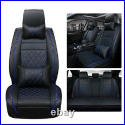 Luxury PU Leather Car Seat Covers Black & Blue Line Full Set Decor For SUV Truck