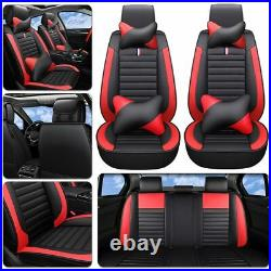 Luxury Red Cushion PU Leather Car Seat Cover 5-Sit Auto Decor Universal Interior