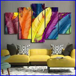 Modern Art Colourful Feather Decor Picture Canvas Prints Painting Wall Art 5PCS