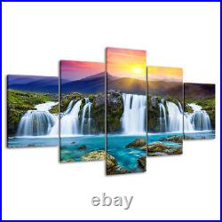 Mountain Waterfall in Sunshine Canvas Prints Painting Wall Art Decor Picture 5PC