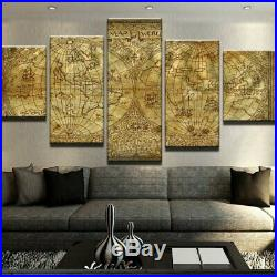 Old World Map Canvas Prints Painting Wall Art Home Decor Picture 5PCS