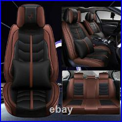 PU Leather Car Seat Cover Front+Rear Set Cushion Fashion Auto Decor 5-Sit Brown