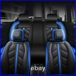 PU Leather Car Seat Covers Protector Front Rear Set Headrest Decor 5-Sit Cushion