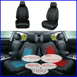 PU Leather Car Seats Cover Auto Front Chair Decor 12V Hot & Cold Control Cushion