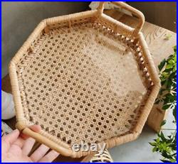 Rectangle Octagonal Decorative Rattan Serving Tray Basket and Handle Extra Large