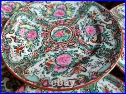 Vintage Chinese Famille Rose side plates x6/ Decorated in Hong Kong