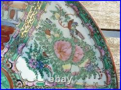 Vintage Chinese Large Rose Medallion Bowl Hand Decorated In Hong Kong
