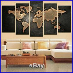 Vintage World Map Abstract Canvas Prints Painting Wall Art Home Decor 5PCS