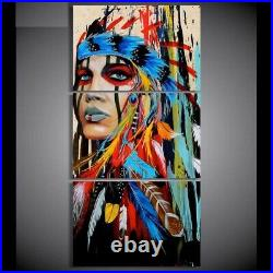 Wall Canvas Painting Posters Native American Indian Feather Decoration Pictures
