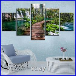 Wooden path Waterfall Forest Lake Canvas Prints Painting Wall Art Home Decor 5PC